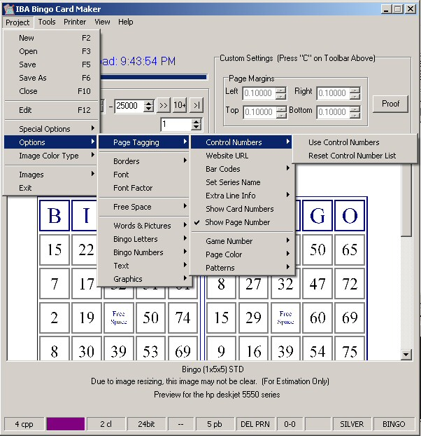 Please take a look of some of the screen shots of IBA Bingo Card Maker ...